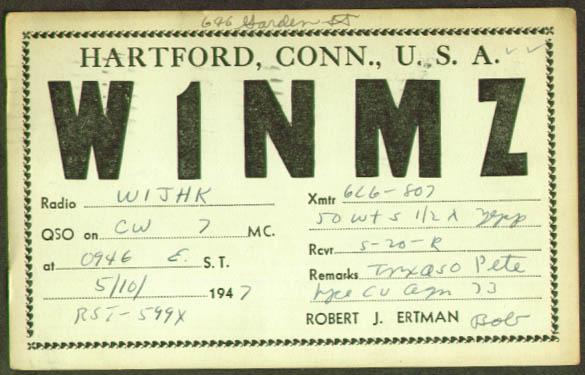 W1NMZ Hartford CT QSL Ham Radio postcard 1947