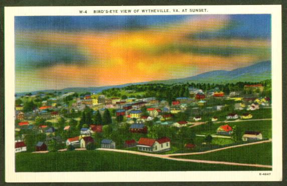 Bird's-eye View Wytheville VA postcard 1940s