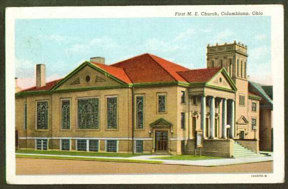 1st M E Church Columbiana OH postcard 1920s