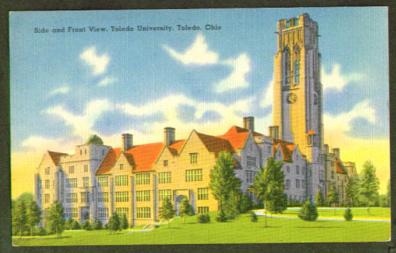 Toledo University Building OH postcard 1940s