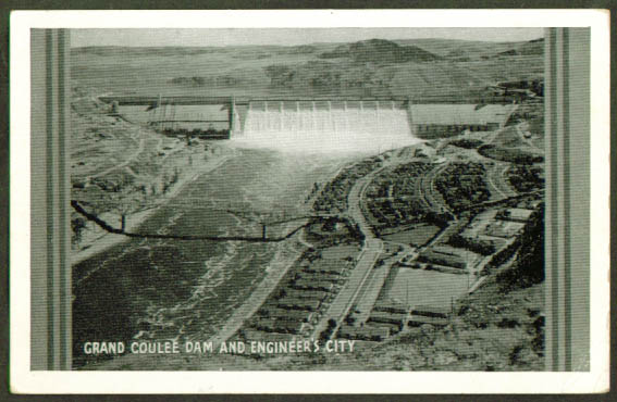 Grand Coulee Dam Engineer City WA postcard 1940s