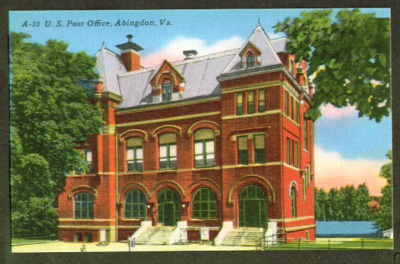 Post Office Abingdon VA postcard 1940s