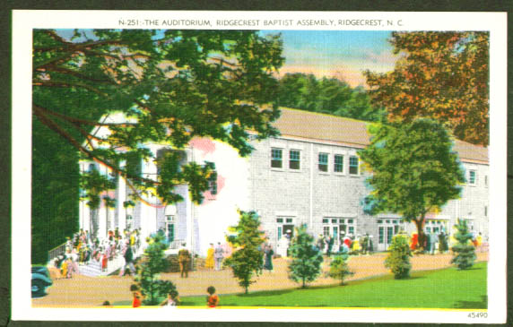 Auditorium Ridgecrest Baptist NC postcard 1940s