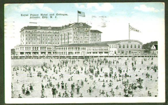 Royal Palace Hotel Atlantic City postcard 1919