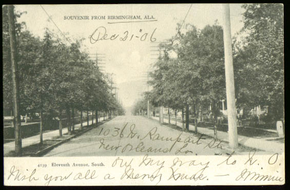 11th Avenue Birmingham AL undivided back postcard 1906