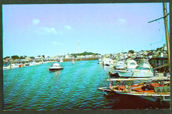 Harbor at Provincetown MA postcard 1960s