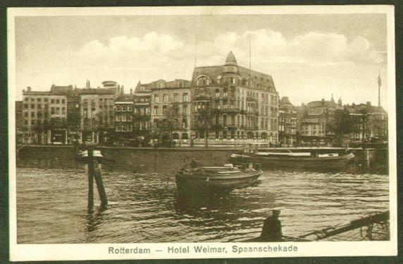 Hotel Weimar Rotterdam Holland postcard 1930s