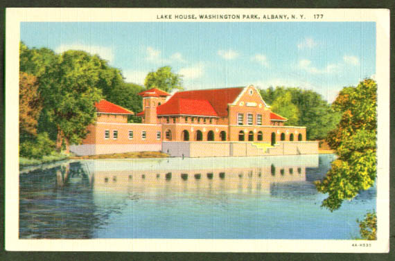 Lake House Washington Park Albany NY postcard 1940s