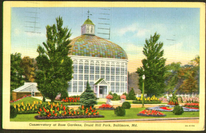 Druid Hill Park Baltimore MD postcard 1942