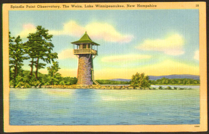 Spindle Point Observatory Weirs NH postcard 1940s