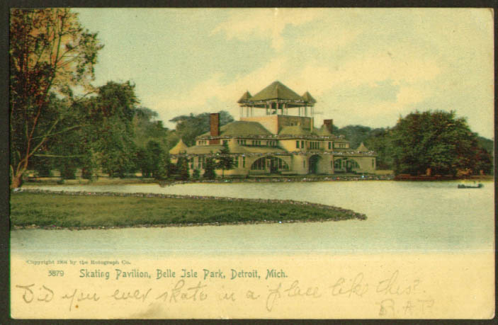 Skating Pavilion Belle Isle Park MI undivided back postcard 1905