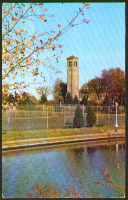 Tennis courts Iowa State Cedar Falls postcard 1953