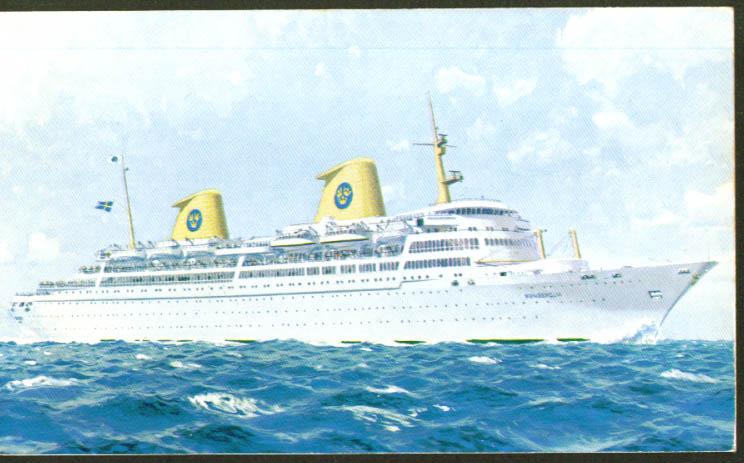 Swedish American S S Kungsholm postcard 1960s
