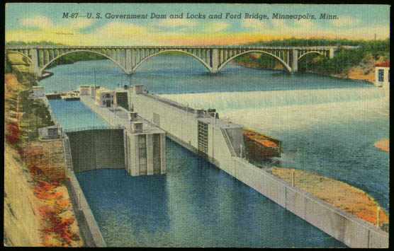 Dam Locks Ford Bridge Minneapolis postcard