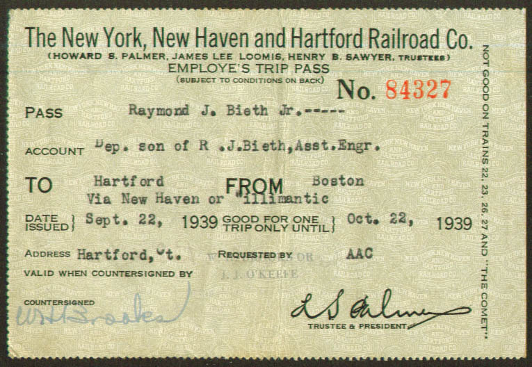 Image for New York New Haven & Hartford Railroad Employe's Trip Pass 1939