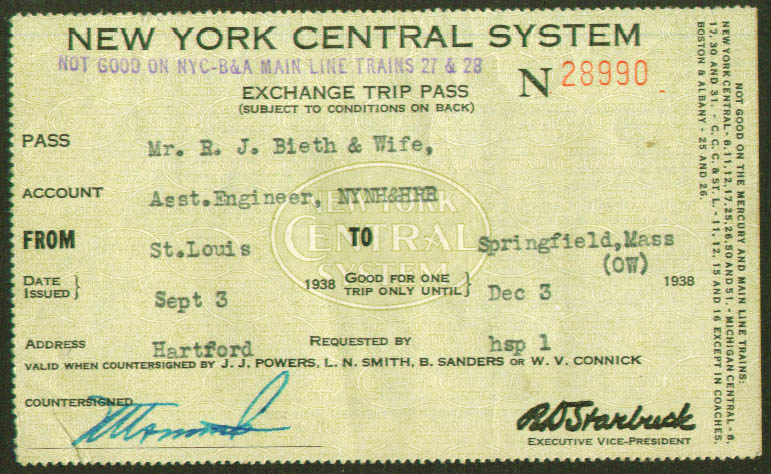 Image for New York Central System Exchange Trip Pass 1938