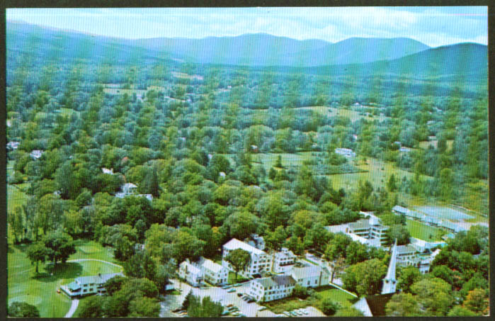 Equinox House aerial view Manchester VT postcard 1960s