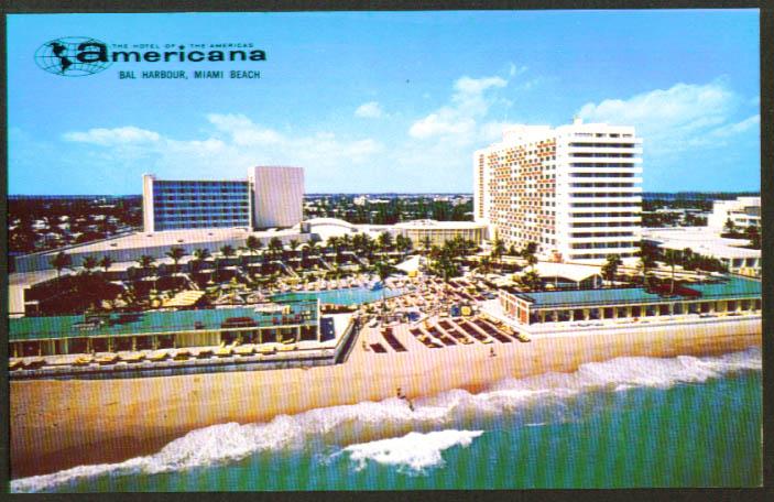 Americana Hotel In Miami Beach Fl Postcard 1960s