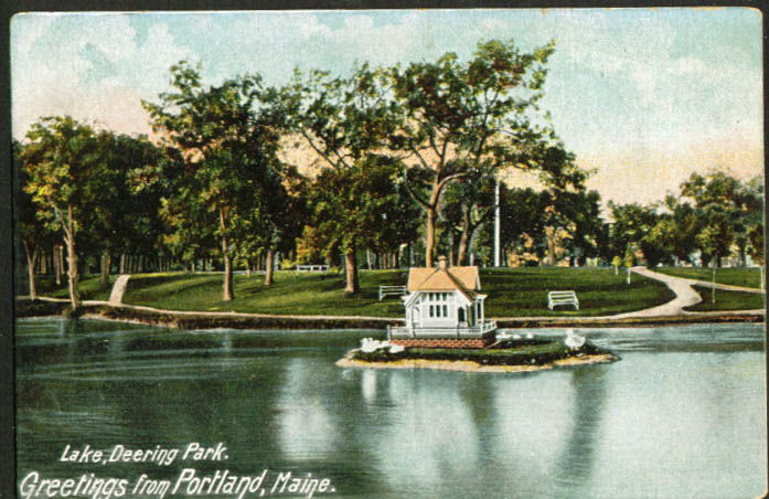 Lake Deering Park Portland ME undivided back postcard 1900s