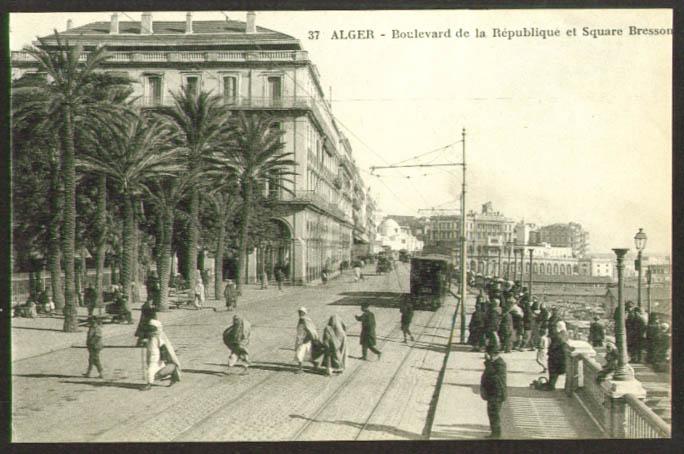Boulevard de la Republique et Square Bresson Algiers Algeria postcard 1910s