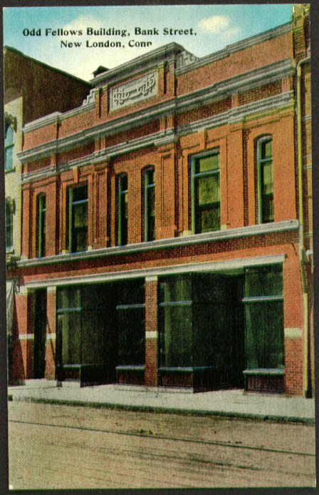 Odd Fellows Building Bank Street New London CT postcard 1910s