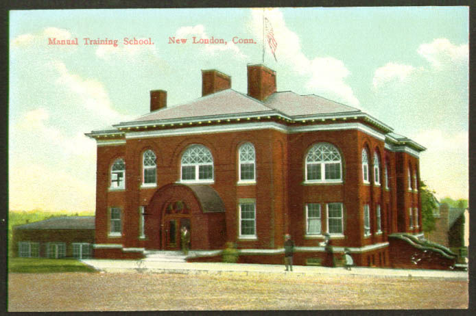 Manual Training School New London CT postcard 1910s
