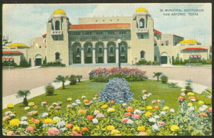 Municipal Auditorium San Antonio TX postcard 1940s