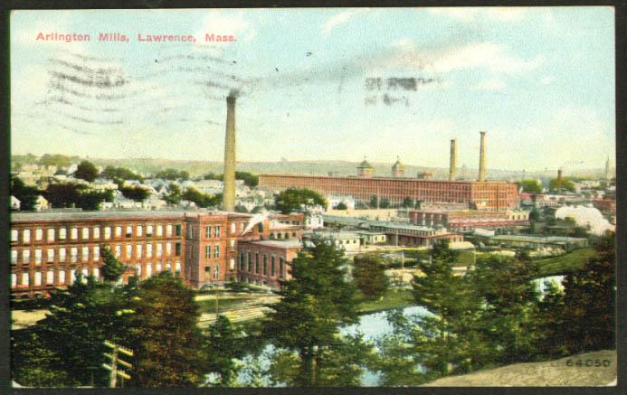 Arlington Mills Lawrence MA postcard 1911