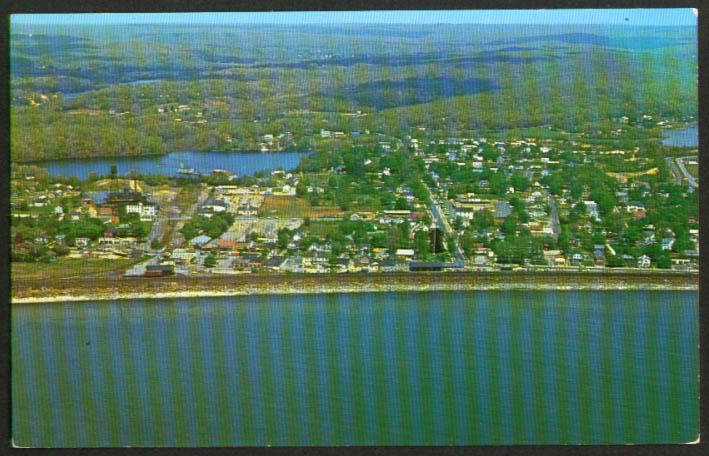 Air View Looking North Niantic CT postcard 1950s