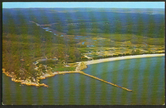 Air View Rocky Neck State Park East Lyme CT postcard 1950s