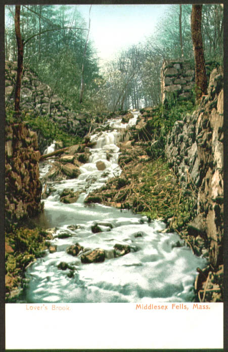 Lover's Brook Middlesex Falls MA undivided back postcard 1900s