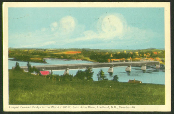 Longest Covered Bridge Hartland NB postcard 1951