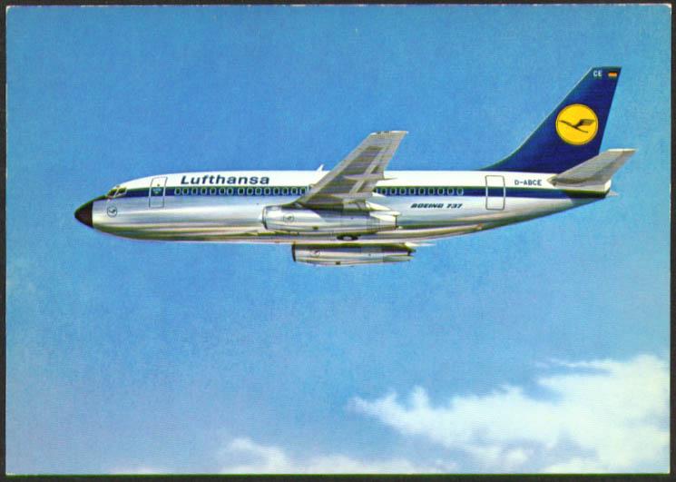 Lufthansa Boeing 737 City Jet airliner postcard 1970s