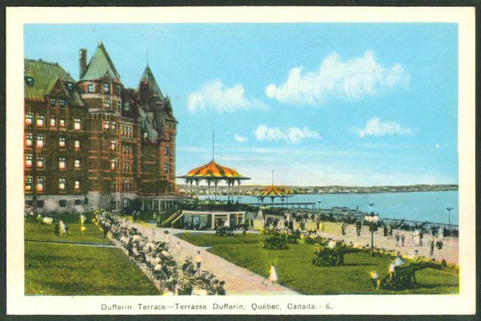 Dufferin Terrace & Bandstand Quebec postcard 1950s