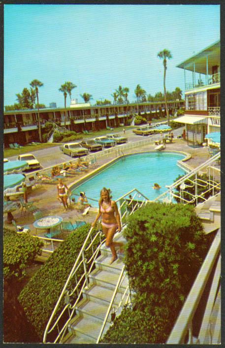 Azure Tides Motel Lido Beach Sarasota FL postcard 1960s