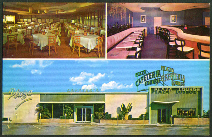 St Clairs Plaza Cafeteria Pompano Beach FL postcard 1950s