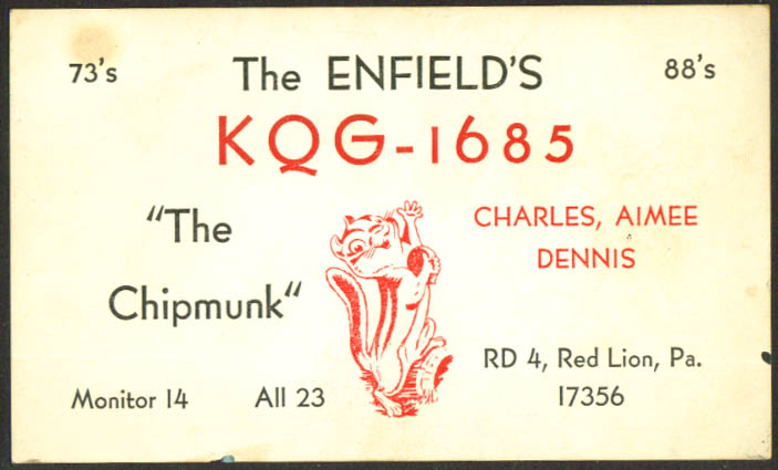 KQG-1685 Enfield Red Lion PA Ham Radio QSL postcard Chipmunk