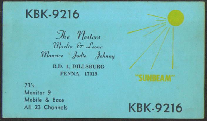 KBK-9216 The Nesters Dillsburg PA Ham Radio QSL postcard