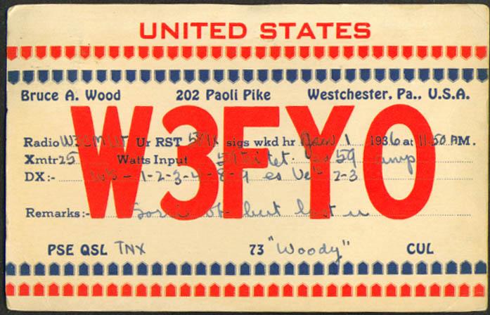 W3FYO Bruce A Wood Westchester PA Ham Radio QSL postcard 1936