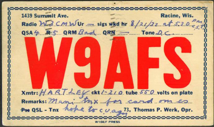 W9AFS Thomas P Werk Racine WI Ham Radio QSL postcard 1932