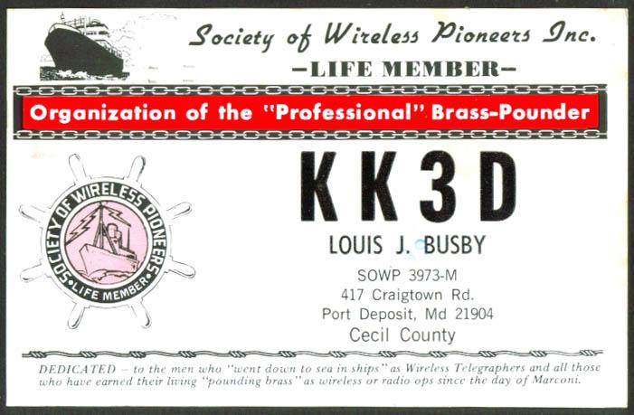 KK3D Port Deposit MD Ham Radio QSL postcard 1984 Life Member