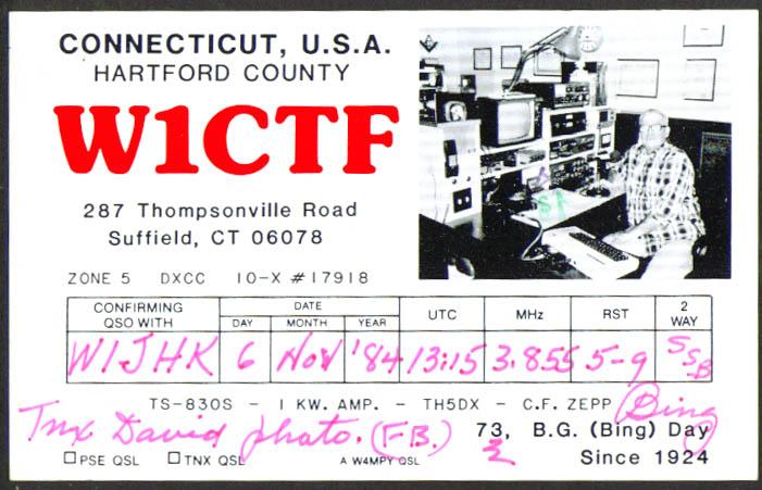W1CTF B G Bing Day Suffield CT Ham Radio QSL postcard 1984