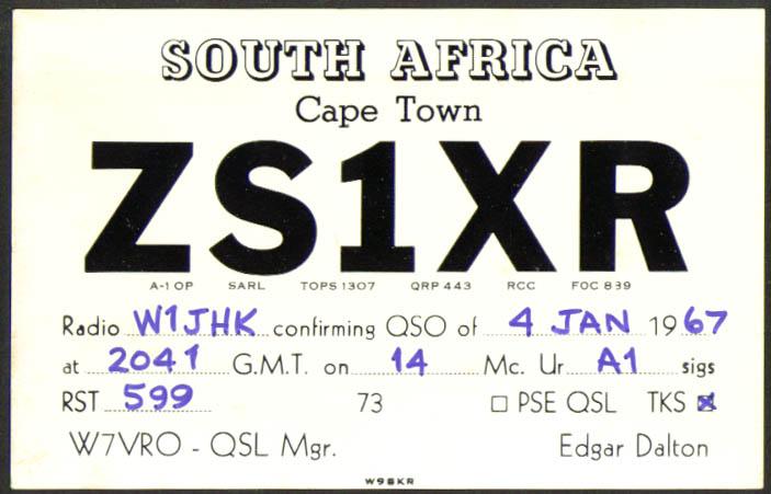 ZS1XR Cape Town South Africa Ham Radio QSL postcard 1967