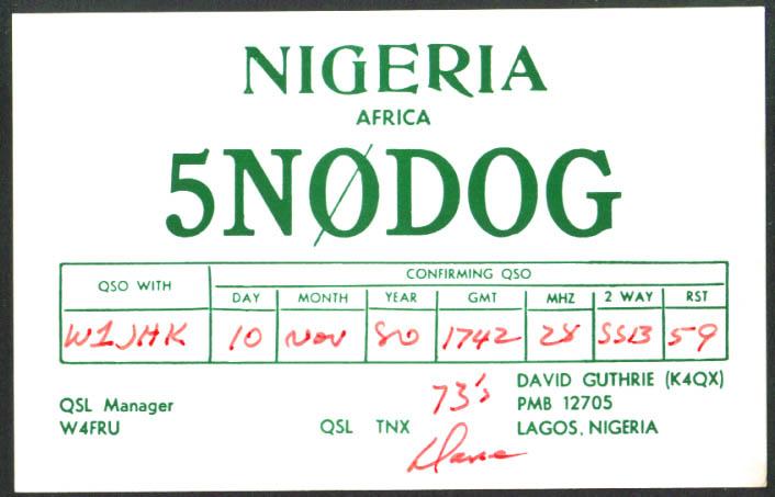 David Guthrie 5N0DOG Lagos Nigeria Ham Radio QSL postcard 1980