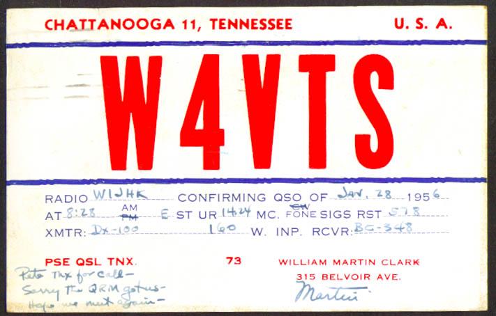 Martin Clark Chattanooga TN Ham Radio QSL postcard 1956