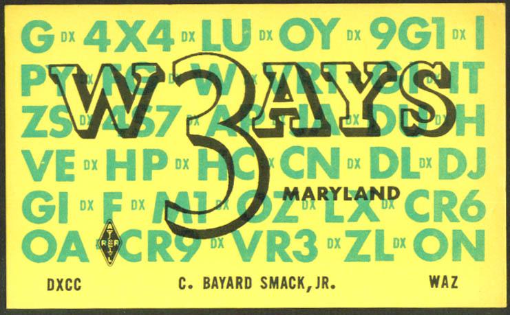 W3AYS C Bayard Smack Jr Baltimore Ham Radio QSL postcard 1962