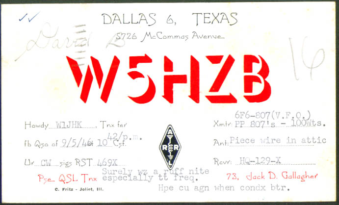 Jack D Gallagher Dallas TX Ham Radio QSL postcard 1946