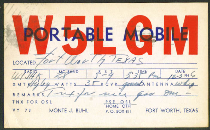 Monte J Buhl Fort Worth TX Ham Radio QSL postcard 1946