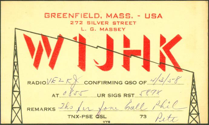 L G Massey Greenfield MA Ham Radio QSL postcard 1958