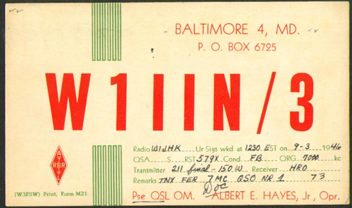 Albert E Hayes Jr Baltimore Ham Radio QSL postcard 1946